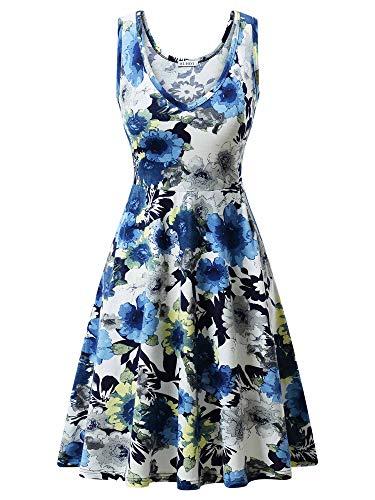 HUHOT Women Summer Casual Floral Beach Sleeveless Sundresses Navy 11 Large