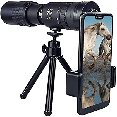4K 10-300X40Mm Super Telephoto Zoom Monocular Telescope, Monocular Telescope for Mobile Phone, with Smartphone Adapter Tripod Suit for Hiking Camping Bird Watching Best Gifts for Men
