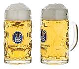 Bierkrug aus Glas mit originalem HB Logo   Hofbräuhaus München Glaskrug 'Isarseidel' 0,5 l - für den kleinen Durst jetzt in halben Liter Format erhältlich