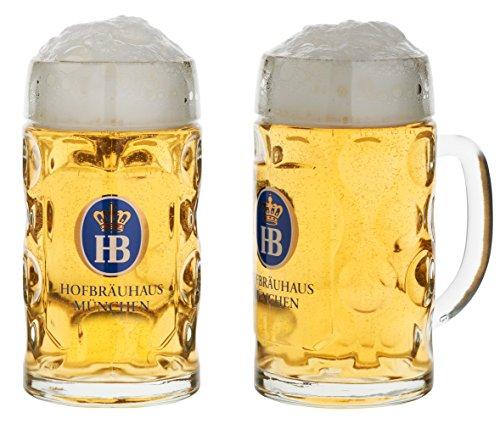 Bierkrug aus Glas mit originalem HB Logo | Hofbräuhaus München Glaskrug