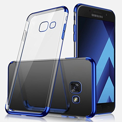 Herbests Coque Etui Housse pour Galaxy A7 2017 Coque Silicone Étui Housse avec Motif,Ultra Mince Crystal Clear Transparent Silicone Soft TPU Étui Coque