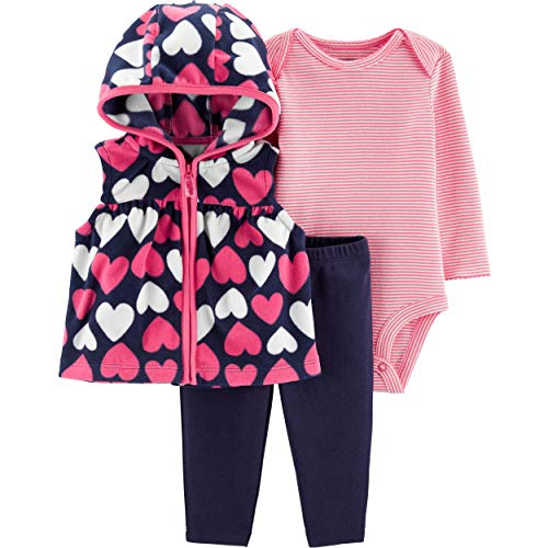 Carter's Baby Infant Fleece Hearts 3-Piece Layette Set - Navy/Pink, 3 Months