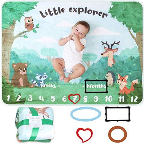 Baby Meilenstein Decke | Foto Monatsdecke Baby Neugeborene Junge oder Mädchen, Unisex | Personalisiertes Neugeborenen Baby Party-Geschenk | Wald & Forst | Weich & Dick | Baby Monats-Decke