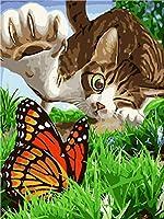 WJYMJJ 数字油絵 猫と蝶 デジタル油絵 数字油絵 大人の子供の ためギフト 手塗DIYりデジタル油絵 - 40* 50cm(フレームレス)