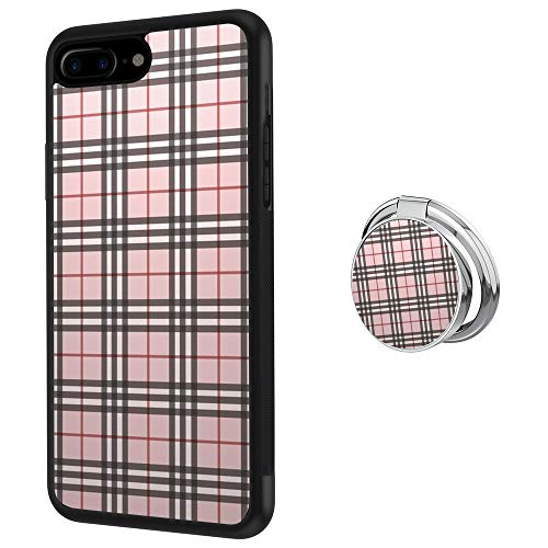 ZacharyMarcus Designed Tartan Plaid Pattern iPhone 7 Plus 8 Plus Case with Buckle Ring 360° Rotatable Silvery Durable Ring Buckle, TPU Black Antiskid Tread Phone Case for iPhone 7 Plus 8 Plus