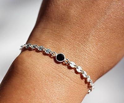 Bracelet chaîne cercles en argent texturés - bracelet pierre onyx noir taillé - bracelet noir et argenté - chaîne cercles argent martelé
