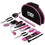 Juego de 69 piezas de herramientas manuales para el hogar herramienta destornillador tijeras kit con bolsa de herramientas portátil por Pink 69 piezas