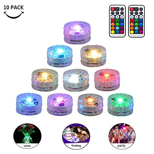 Submersible LED Lights Waterproof Underwater Small Tealights Battery Operated Remote Control for Pond Fountain Vase Party Wedding Decoration (Multicolor,Pack of 10)