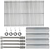Hisencn Replacement Parts for Master Forge 1010037 Gas Grill Models, Stainless Steel Burners, Stainless Heat Plates Tent Shield and Cooking Grids Grill Grate Repair Kit