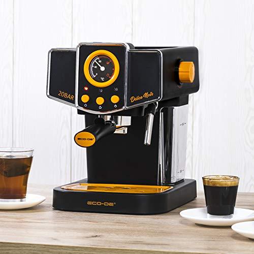 Ecode - Macchina da caffè Espresso Delice Noir, 20 Bar di Pressione, vaporizzatore orientabile, Serbatoio da 1,5 Litri, Mono/Doppia dose, manometro con Temperatura
