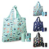 ASHARE Reusable Shopping Bags for Groceries with Handles Machine Washable Rip-Stop XL Grocery Bag, 4 Pack