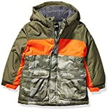 Osh Kosh Boys' Toddler Heavyweight Colorblock Puffer Coat, Camo Print/Orange/Green, 3T