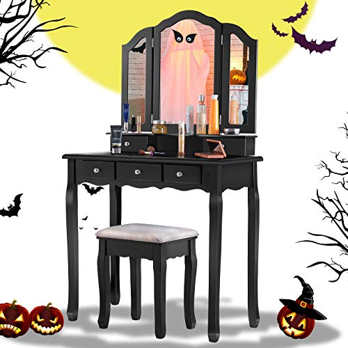 Tiptiper Vanity Table, Vanity Set with Cushioned Stool 5 Drawers, Makeup Dressing Table with Tri-Folding Mirror and 8 Necklace Hooks for Girls Women, Black
