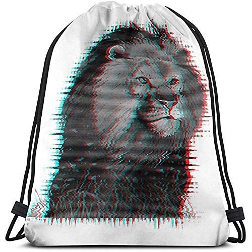 Kordelzug Bundle Bag Sport Reisen Rucksack für jedermann Lendendruck Poster Textilien Glitch-Effekt Aquarell Löwe