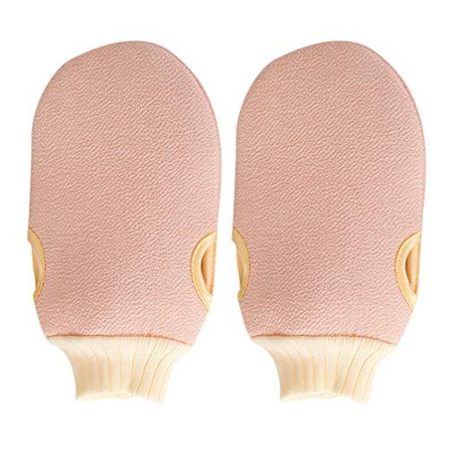 Cabilock 2 stks badhanddoek handschoenen douche handschoenen douche wanten lichaam exfoliërende massage (licht roze)