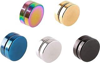 5 PCS Orecchini Magnetici Uomo Donna Bambina cerchio argento oro bianco Piccoli Non Piercing Orecchini Calamita Hip Hop(-)