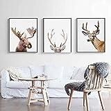 CAPOOK Nursery Moose Deer Lienzo Pintura Pared Arte Cartel impresión nórdico Bosque Imagen niños habitación decoración del hogar 3 piezas-40x50 cm / 15,7'x 19,7' Sin Marco