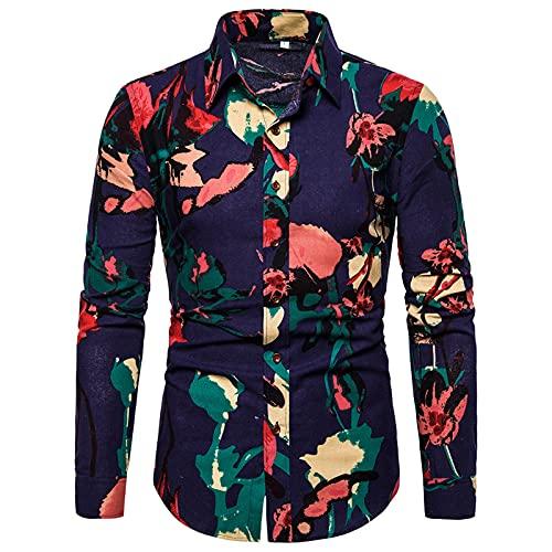 Ocuhiger Camisas Casuales De Moda para Hombres Camisa De Manga Larga con Cuello Vuelto Camisa Ajustada con Botones Blusa A Rayas Estampado Digital para Hombres Azul