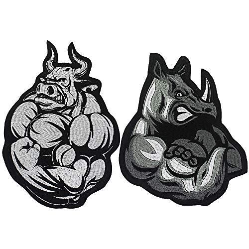 EMDOMO Fat Bull bestickte Ox-Applikation, Punk-Biker, zum Aufbügeln, Kleidung, Accessoires, 2 Stück