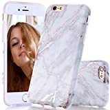 BAISRKE Shiny Rose Gold Marble Design Clear Bumper Matte TPU Soft Rubber Silicone Cover Phone Case Compatible with iPhone 6 Plus iPhone 6s Plus [5.5 inch] - White Grey