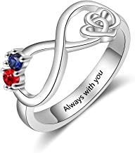 Molywoo Personalized Infinity Heart Rings for Women with 2 Simulated Birthstones Engagement Promise Gifts for Women