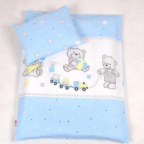 BABYLUX 2 tlg. Set Bezug für Kinderwagen Stubenwagen oder Wiege Garnitur Bettwäsche Kissen Decke 60 x 78 cm (70. Bär Cookie Blau)