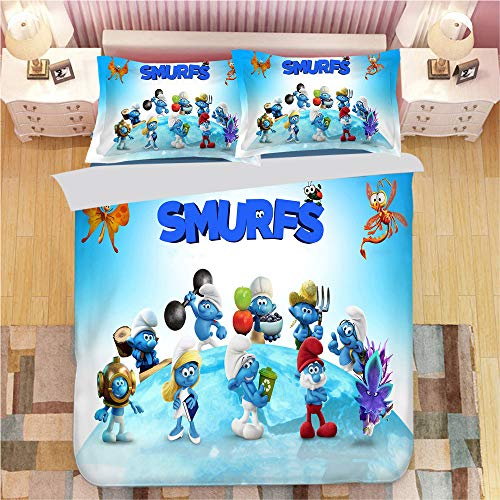 CCBZLY Cute Animation The Smurfs Bedding Set, Three-piece Microfiber Duvet Cover with Zipper Closure, Christmas and New Year Gifts for Kids/girls/boys (M04,Single 135X200CM)