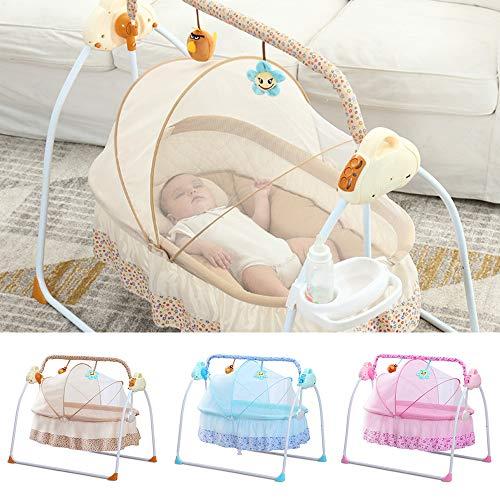 Automatik Babyschaukel Multifunktionsklappbarer Elektrische Safe Elektrische Baby-Wiege Wippe mit Matte NEU (Khaki)