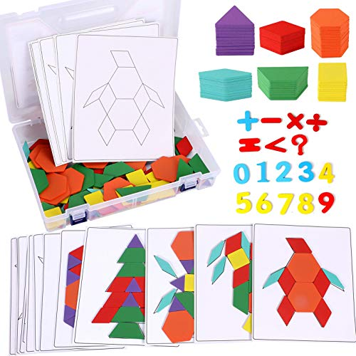 Lewo 203 PCS Pattern Blocks Set Activity Cards Wooden Geometric Shape Puzzles Tangrams Set Educational Toys for Kids