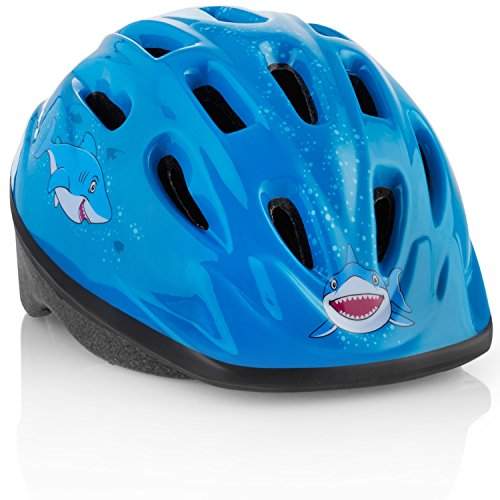 Kids Bike Helmet [Blue Shark] - Adjustable and Comfortable - Durable Children Bicycle Helmet with Fun Designs Boys and Girls Will Love - FunWave
