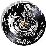 Reloj de Pared de Tatuaje Vintage, máquina de Tatuaje de Arte de Tatuaje, decoración de Pared de Estudio, Reloj de Tatuaje, diseño de salón, Reloj de Pared con Disco de Vinilo