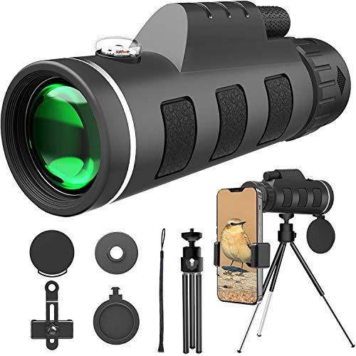 40X60 HD Monocular Telescope BAK4 Prism Waterproof Fogproof Monoculars Scope Compact Portable for Watching Moon Bird Wildlife Camping Travelling Smartphone Holder (Gen 3)