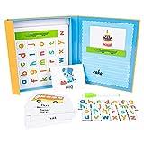 WUSHUN Juguetes de Aprendizaje ABC para Niños Pequeños, Juego de Ortografía de Palabras, Tarjetas con Letras del Alfabeto, Juguetes Educativos Preescolares Niños