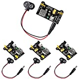 ALMOCN 4PCS 3.3V 5V MB102 Breadboard Power Supply Module DC 6.5-12V USB with 9V Battery Clip Power Cable 2.1x 5.5mm Male DC Plug for Arduino