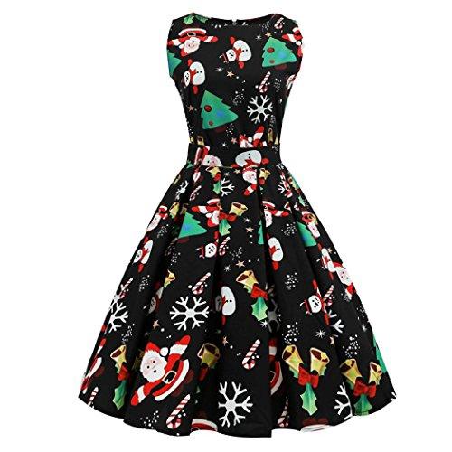 SHOBDW Vestido de Navidad, Las Mujeres de Santa Navidad Fiesta Vestido de Navidad Vintage Swing Skater Vestido (S-4XL) (Negro 4361, XS)