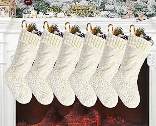 6 Set Calza di Natale lavorata a maglia grande, Calze appese camino bianco 18 pollici Calze di Natale grandi classiche Decorazioni personalizzate fai-da-te per la festa di Natale in famiglia