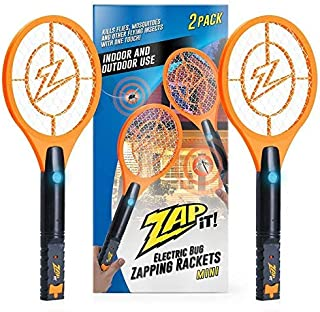 ZAP IT! Bug Zapper Twin-Pack Rechargeable Mosquito, Fly Killer and Bug Zapper Racket - 4,000 Volt - USB Charging, Super-Bright LED Light to Zap in The Dark - Safe to Touch (Mini Twin Pack)