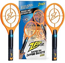ZAP IT! Bug Zapper Twin-Pack Rechargeable Mosquito, Fly Killer and Bug Zapper Racket - 4,000 Volt - USB Charging, Super-Bright LED Light to Zap in The Dark - Safe to Touch (Orange Mini Twin Pack)