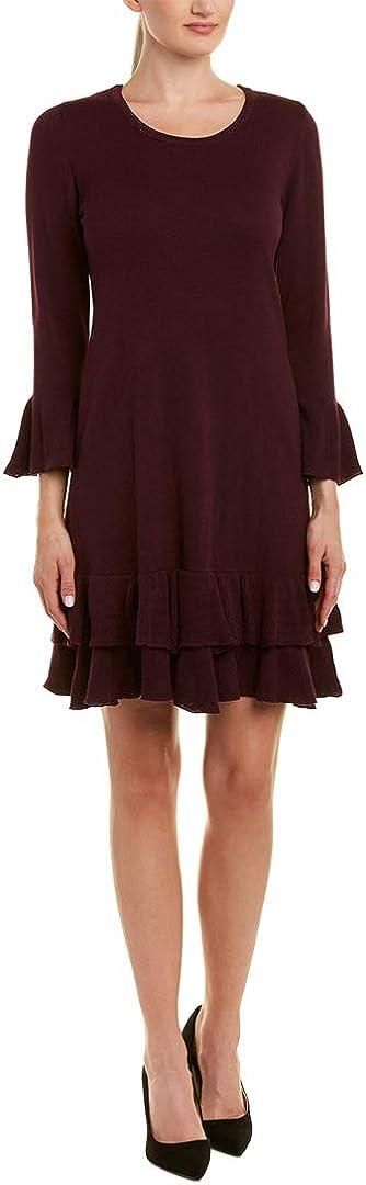 NINE WEST Women's Bell Sleeve Sweater Dress with Ruffle Hem