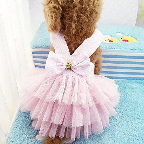 Dog Dresses  Fashion Pet Dog Clothes  Striped Mesh Puppy Dog Princess Dresses (Pink  Small)