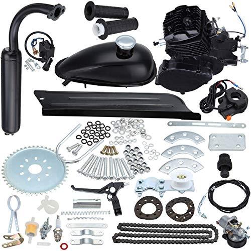 Iglobalbuy 80CC Petrol Gas Motor Bicycle Engine Complete Kit Motorized Bike 2-Stroke (black)