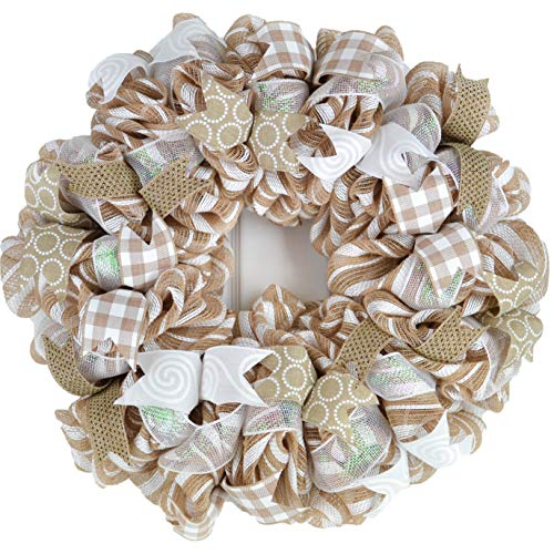 Everyday Burlap Front Door Wreath   Year Round Gift for Mom   Burlap Jute White