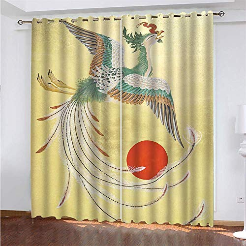 YUNSW Dragon And Phoenix 3D Digital Printing Polyester Fiber Curtains, Garden Living Room Kitchen Bedroom Blackout Curtains, Perforated Curtains 2 Piece Set