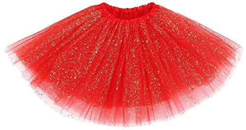 Simplicity Women's Classic Elastic 3 Layered Tulle Tutu Skirt, Red Sequin