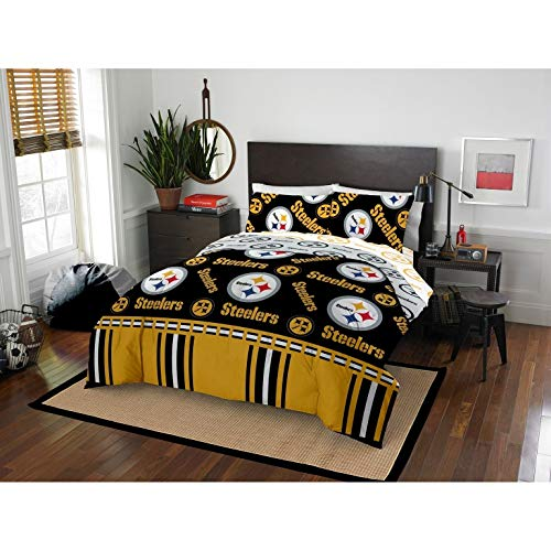 MISC 5 Piece Steelers Comforter & Sheets Set Full Queen, Football Sports Bedding for Boys Kids Bedroom Team Logo Printed Collegiate Pattern Home Decor Game Fans Gift Super Soft Cozy Quality Polyester