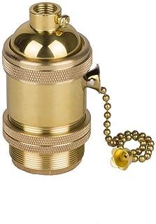 Vintage E27 Edison Douille Culot de Lampe avec ON/OFF Interrupteur en Cuivre Laiton Douille Support pour Rétro Style DIY A...
