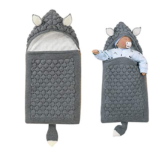 iFCOW Wickeldecke für Neugeborene, Baby-Schlafsack, Cartoon-Ohren, Schwanz, gestrickt, mit Fleece gefüttert