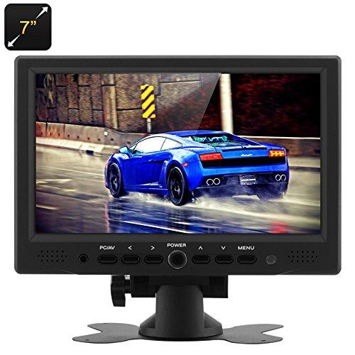 BW 17,8 cm Moniteur LCD TFT voiture – 800 x 480 résolution native, HDMI + VGA entrées vidéo, rotatif à 360 ° Support