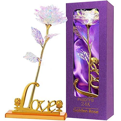 Galaktyka róża kwiat sztuczna róża prezenty kolorowa róża z napisem Love podstawka plastikowy kwiat róże prezenty na Walentynki Dzień Matki urodziny Święto Dziękczynienia dla niej dziewczyn kobiet żony