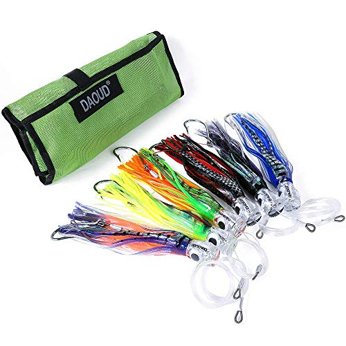JIOUDAO Set of 6 Fishing Lures Trolling Lures Saltwater for Tuna Marlin Dolphin Mahi Wahoo and Durado, Included 6 inch Rigged Big Game Fishing Lures and Free Mesh Bag.